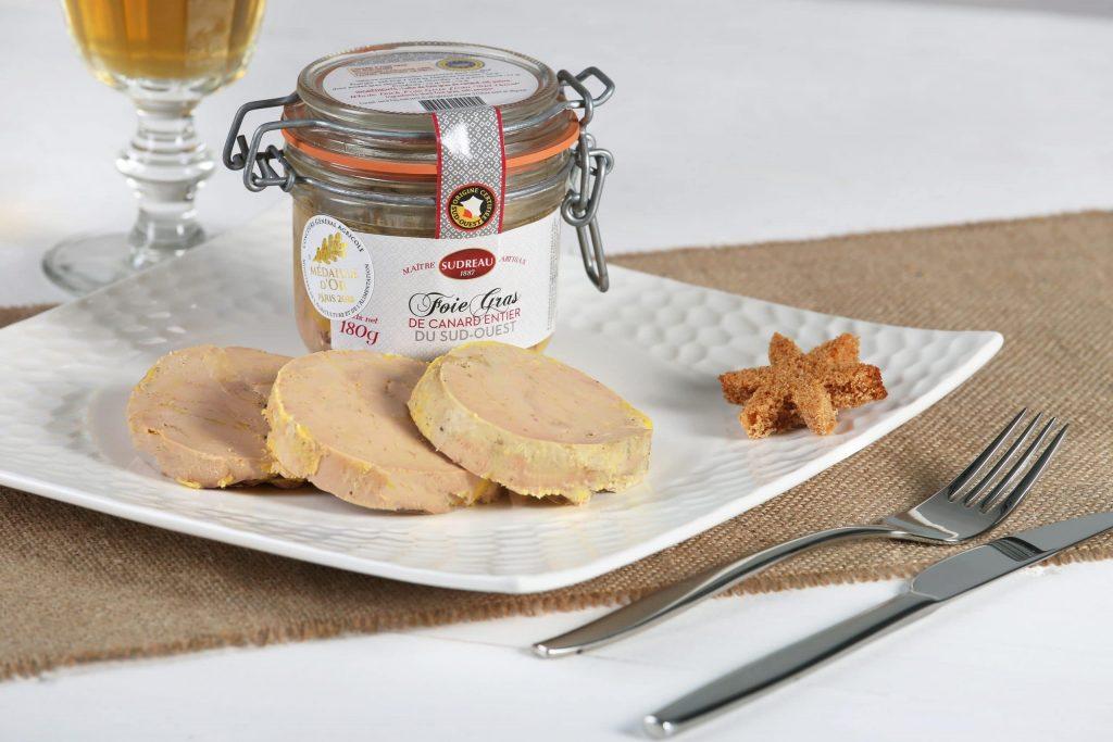 Foie gras de canard entier du sud ouest - médaille or - maison sudreau